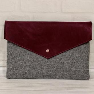 Войлок+кожа: чехол для твого ноутбука или макбука на заказ.
