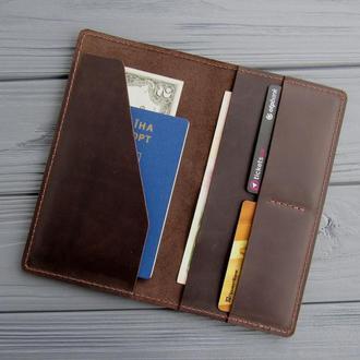 Тревел-кейс из кожи, кошелек для путешествий, портмоне для документов_подарок путешественнику