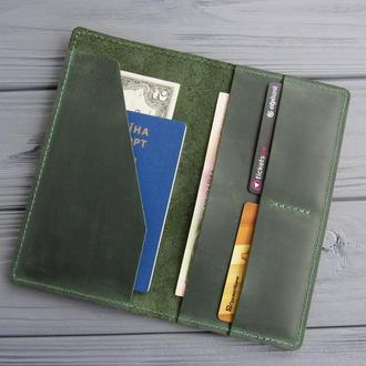 Кожаный тревел-кейс, органайзер для путешествий из кожи_портмоне для билетов и документов_зеленый
