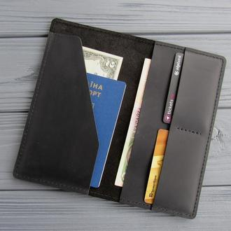 Кожаный тревел кейс, портмоне для документов, кошелек для путешествий_черный
