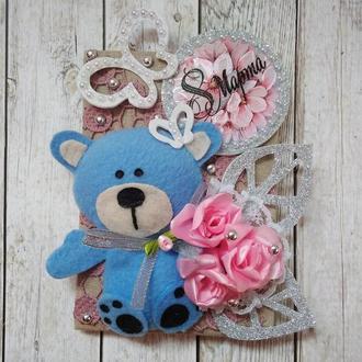Маленькая открытка с мишкой на 8 Марта,открытка на 8 Марта