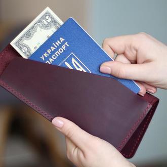 Кожаный Тревел-кейс, портмоне для путешествий_женский кожаный кошелек для документов