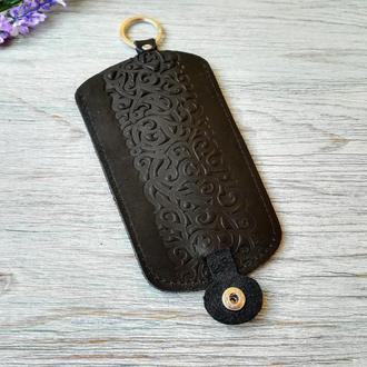 Кожаная ключница черная женская карманная для ключей с тиснением восточные узоры Украина кожа