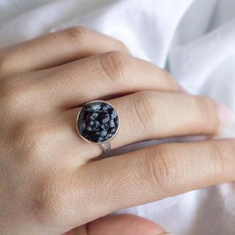 Перстеник зі сніговим обсидіаном - кольцо со снежным обсидианом