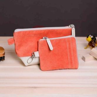 Комплект в оранжевом цвете: ключница и косметичка
