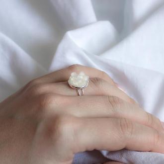 Перстень з котячим оком селенітом - кольцо с кошачьим глазом селенитом