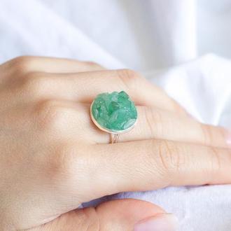 Перстеник з зеленим кварцем - кольцо с зеленым кварцем
