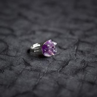 Перстень з аметистом догори айстри - кольцо с аметистом Астры