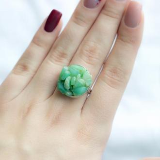 Перстень з натуральним хризопразом - кольцо с натуральным хризопразом
