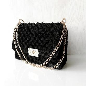 Каркасная сумка, сумочка на выход, черная сумка ручной работы