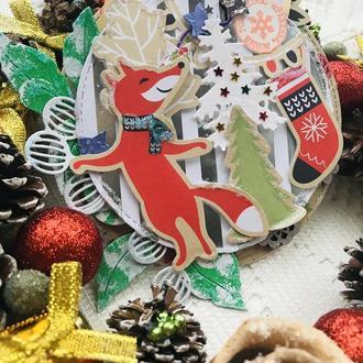 Новогодняя открытка. Открытка с лисичкой. Открытка на новый год
