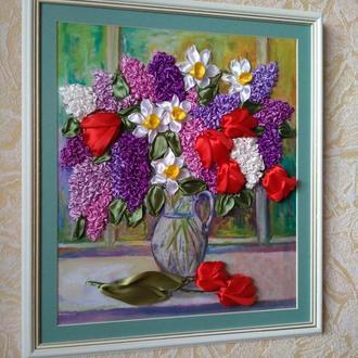 картина Сирень и тюльпаны