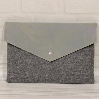 Войлок+кожа: чехол-конверт для макбука. Футляр для ноутбука на заказ.