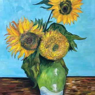 "Картина маслом по мотивам картины Ван Гога ""Подсолнухи"""