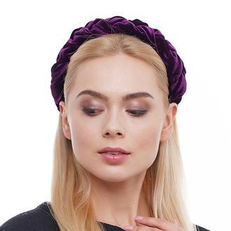 Бархатный обруч косичка ,,Королевский пурпур,,