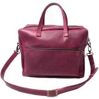 Кожаная сумка мессенджер. 07004/бордо