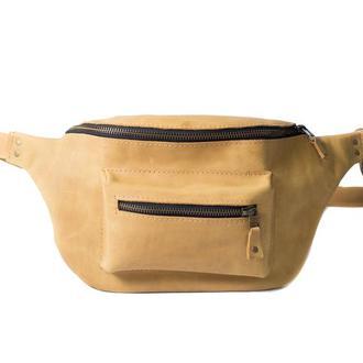 Кожаная поясная сумк. 07002/желтый