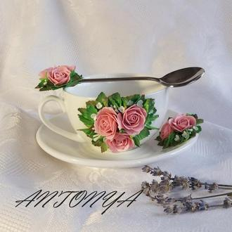Чашка,блюдце и ложечка-чайный набор