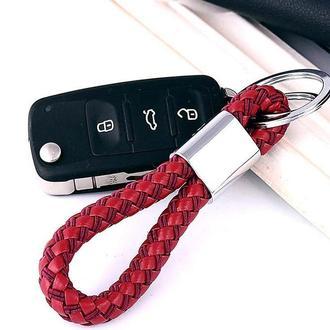 Кожаный брелок для ключей с гравировкой, 5 цветов