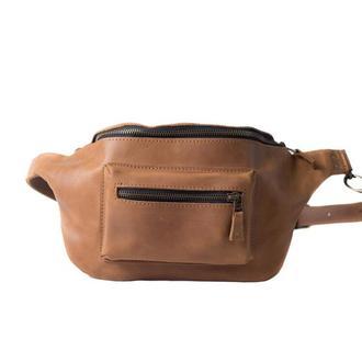 Кожаная поясная сумка ручной работы. 07002/коньяк