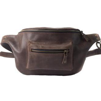 Кожаная поясная сумка. 07002/коричневый