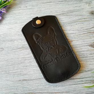 Кожаная ключница черная мужская карманная для ключей с тиснением бульдог Украина кожа