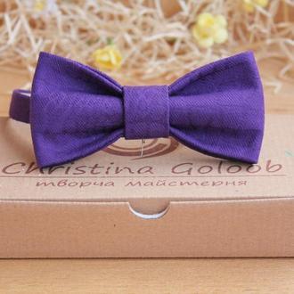 Галстук бабочка фиолетовый хлопок
