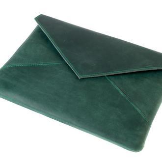 Кожаный чехол для Macbook в форме конверта. 03008/зеленый