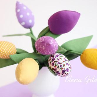 Букет текстильных Тюльпанов желто-фиолетовый