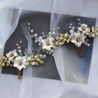 свадебное украшение для волос, веточка в прическу, заколки в прическу, украшения в прическу