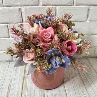 Букет из мыла . Премиум коллекция с цветами нежного Ириса.