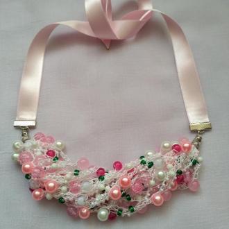 Воздушка бусы из бисера розовые Весна, подарок девушке