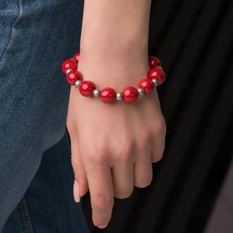 """Красный браслет из керамики """"Red Wine"""" ручной работы"""