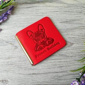 Кошелек зажим женский красный для денег и карточек без застежки ручной работы с тиснением бульдог