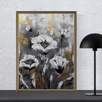 """Картина акрилом """"Блеск лепестков"""" 30×40 см,  Современная живопись"""