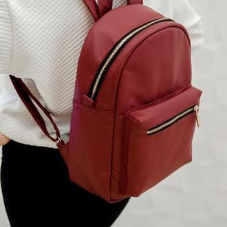 Женский вместительный бордовый рюкзак,экокожа