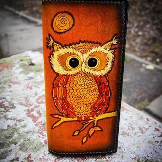 Женский клатч кошелек Сова, рыжий кошелек, кошелек с совой, подарок девушке