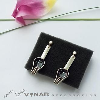 серьги Черные тюльпаны из серебра 925