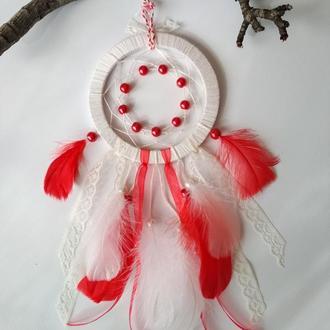 Бело-красный ловец снов