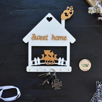 """Настінна ключниця - котики в будиночку """"Sweet home"""", з дерева"""