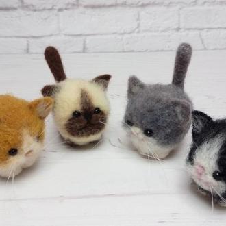 Котики. Кот валяный. Валяные игрушки. Коты. Котята. Кот