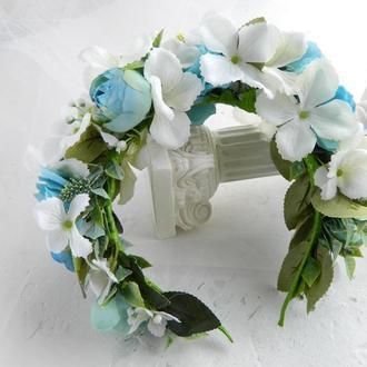 Обруч с голубыми цветами