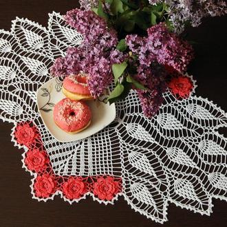 Большая салфетка с розами,овальная минискатерть/ Велика серветка з трояндами, овальна мініскатертина