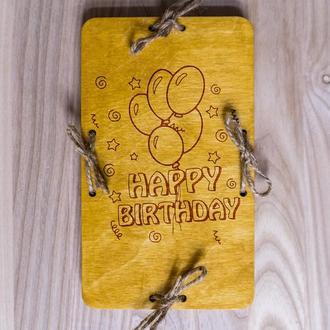 "Коробочка-конверт для денег ""Happy Birthday"" из фанеры 2"