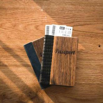 Обложка на паспорт из дуба и кожи