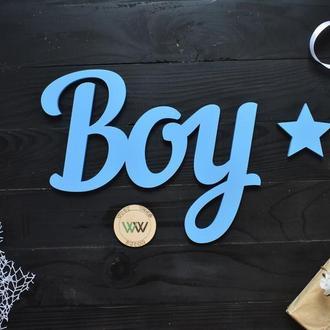 Объемные слова, надписи из дерева в голубом цвете. Boy (любое слово, шрифт, цвет и размер)