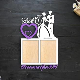 Свадебная фоторамка с парой, инициалами и датой свадьбы, из дерева