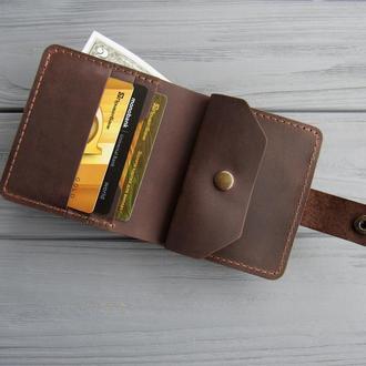 Маленький карманный кожаный кошелёк LANA_шоколад