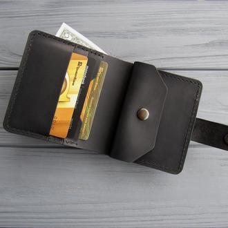 Кожаный кошелёк  LANA_черный_кожаное карманное портмоне