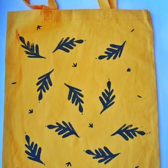 Еко сумка жовта з листочками